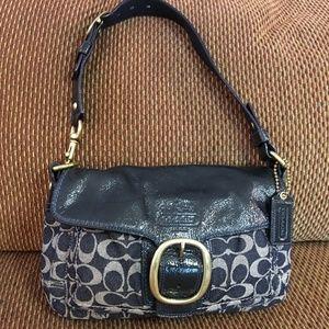COACH Denim Signature BLEECKER Flap Shoulder Bag